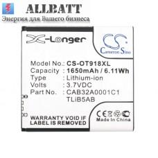 CameronSino аккумулятор для Alcatel OT-918D 1650mAh [повышенной емкости с задней крышкой] (CS-OT918XL)